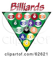 Royalty Free RF Clipart Illustration Of Racked Pool Balls Over Green With Red Billiards Text by Pams Clipart