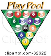 Royalty Free RF Clipart Illustration Of Racked Pool Balls Over Green With Yellow Play Pool Text by Pams Clipart
