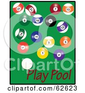 Royalty Free RF Clipart Illustration Of Scattered Billiards Balls On Green With Red Play Pool Text by Pams Clipart