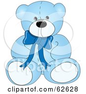 Royalty Free RF Clipart Illustration Of A Cute Blue Teddy Bear With A Neck Bow