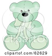 Royalty Free RF Clipart Illustration Of A Cute Green Teddy Bear With A Neck Bow