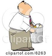Businessman Taking Out Garbage