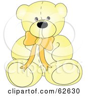 Royalty Free RF Clipart Illustration Of A Cute Yellow Teddy Bear With A Neck Bow