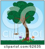 Royalty Free RF Clipart Illustration Of A Tree Swing Hanging In A Back Yard by Pams Clipart
