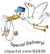 Royalty Free RF Clipart Illustration Of A Flying White Stork With Special Delivery Text