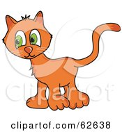 Royalty Free RF Clipart Illustration Of A Shy Orange Kitty Cat With Big Green Eyes by Pams Clipart