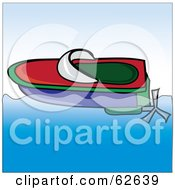Royalty Free RF Clipart Illustration Of A Red Green And Blue Floating Toy Boat