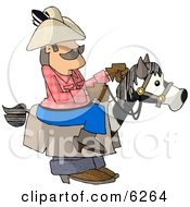 Cowboy Riding A Stick Horse Clipart Picture