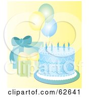Royalty Free RF Clipart Illustration Of A Pretty Blue Birthday Cake With Gifts And Balloons On Yellow