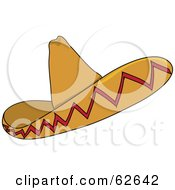 Royalty Free RF Clipart Illustration Of A Sombrero Hat With Red Trim Designs
