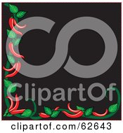 Royalty Free RF Clipart Illustration Of A Black Background Bordered White Red Chili Peppers And Green Leaves by Pams Clipart