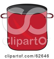 Royalty Free RF Clipart Illustration Of A Red Kitchen Stock Pot by Pams Clipart