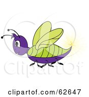 Royalty Free RF Clipart Illustration Of A Purple And Green Lightning Bug