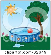 Royalty Free RF Clipart Illustration Of A Red Ball Floating In A Pool In A Back Yard by Pams Clipart