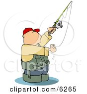Man Wading In Water While Fishing Clipart Picture