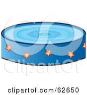 Royalty Free RF Clipart Illustration Of A Blue Above Ground Pool With Star Patterns