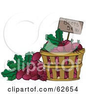 Royalty Free RF Clipart Illustration Of A Pricing Tag In A Bushel Of Beets