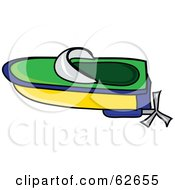 Royalty Free RF Clipart Illustration Of A Green Blue And Yellow Toy Boat