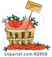 Royalty Free RF Clipart Illustration Of A Pricing Tag In A Bushel Of Carrots by Pams Clipart