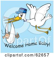 Royalty Free RF Clipart Illustration Of A Flying White Stork With Welcome Home Baby Text by Pams Clipart