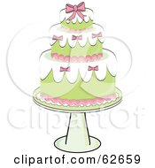 Royalty Free RF Clipart Illustration Of A Fancy Three Tiered Green And Pink Wedding Cake