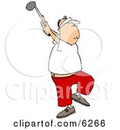 Middle Aged Man Golfing