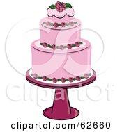 Fancy Three Tiered Pink Rose Wedding Cake