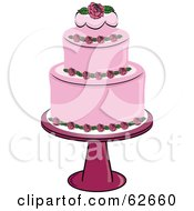 Royalty Free RF Clipart Illustration Of A Fancy Three Tiered Pink Rose Wedding Cake by Pams Clipart