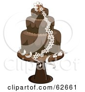 Royalty Free RF Clipart Illustration Of A Fancy Three Tiered Chocolate And White Daisy Wedding Cake by Pams Clipart