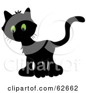 Royalty Free RF Clipart Illustration Of A Very Black Kitten With Big Green Eyes by Pams Clipart