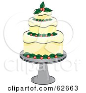 Royalty Free RF Clipart Illustration Of A Fancy Three Tiered Christmas Cake by Pams Clipart