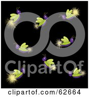Royalty Free RF Clipart Illustration Of A Group Of Glowing Purple And Green Lightning Bugs by Pams Clipart