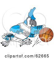 Royalty Free RF Clipart Illustration Of A Blue Jay Character School Mascot Dribbling A Basketball