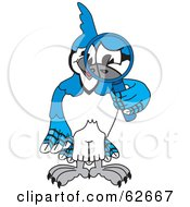 Royalty Free RF Clipart Illustration Of A Blue Jay Character School Mascot Using A Magnifying Glass
