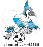 Royalty Free RF Clipart Illustration Of A Blue Jay Character School Mascot Playing Soccer
