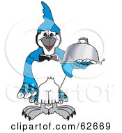 Royalty Free RF Clipart Illustration Of A Blue Jay Character School Mascot Serving Food