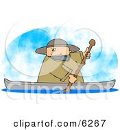 Man Rowing A Boat On A Lake Clipart Picture