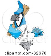 Royalty Free RF Clipart Illustration Of A Blue Jay Character School Mascot Playing Baseball