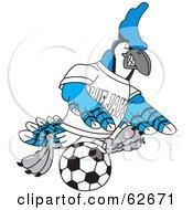 Blue Jay Character School Mascot Kicking A Soccer Ball