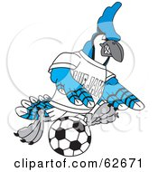 Royalty Free RF Clipart Illustration Of A Blue Jay Character School Mascot Kicking A Soccer Ball