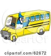 Blue Jay Character School Mascot Driving A Bus