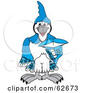 Royalty Free RF Clipart Illustration Of A Blue Jay Character School Mascot Pointing Outwards