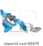 Royalty Free RF Clipart Illustration Of A Blue Jay Character School Mascot Reclined