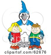 Royalty Free RF Clipart Illustration Of A Blue Jay Character School Mascot With Students