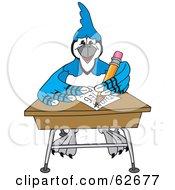 Blue Jay Character School Mascot Doing Homework At A Desk