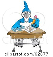 Royalty Free RF Clipart Illustration Of A Blue Jay Character School Mascot Doing Homework At A Desk