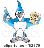Blue Jay Character School Mascot Holding A Report Card