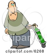 Middle Aged Man On Oxygen Therapy Clipart Picture