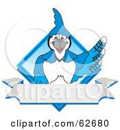 Royalty Free RF Clipart Illustration Of A Blue Jay Character School Mascot Blue Diamond Banner Logo
