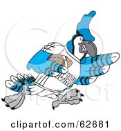Royalty Free RF Clipart Illustration Of A Blue Jay Character School Mascot Playing American Football by Toons4Biz